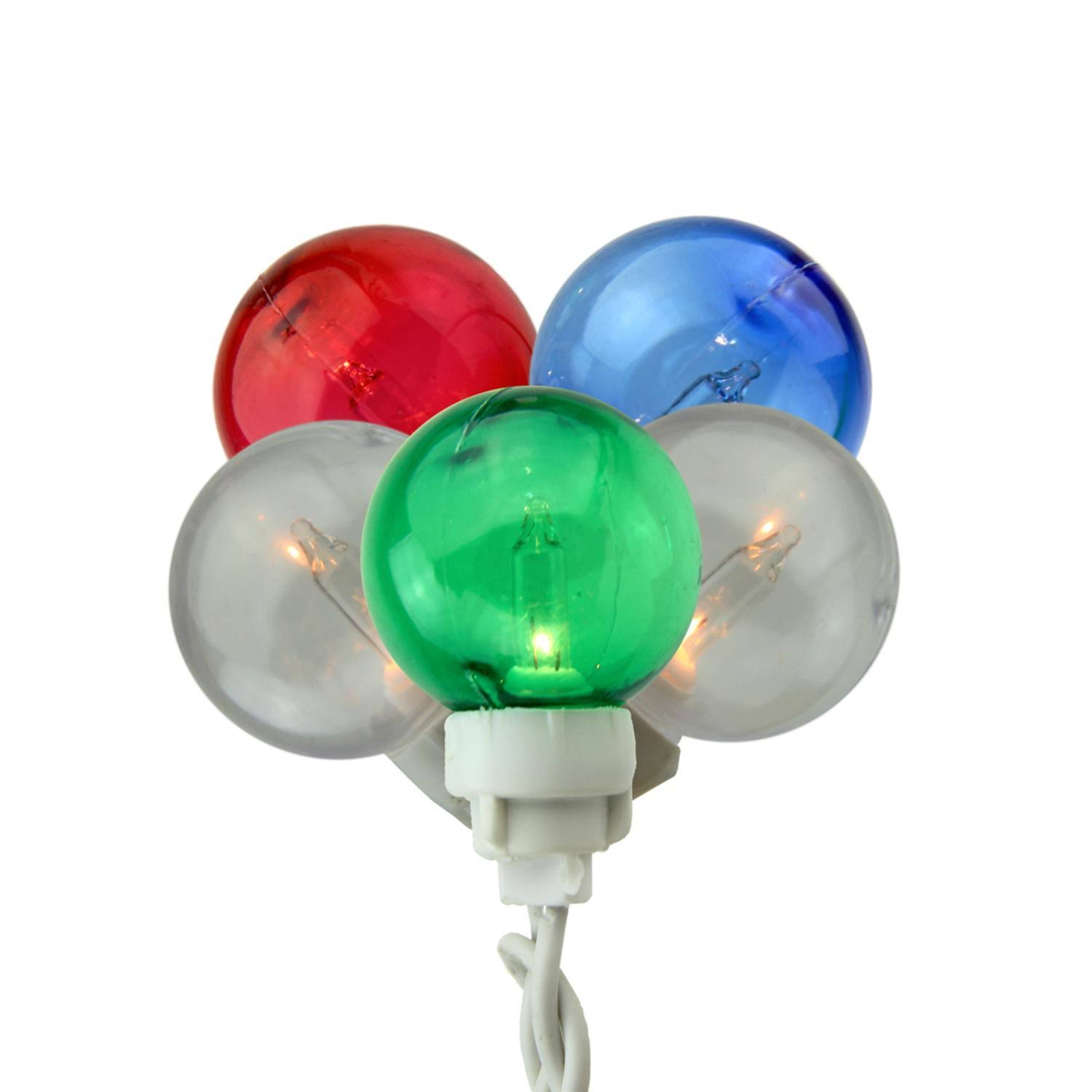 Set of 100 Multi-color G30 Globe Icicle Christmas Lights - White Wire