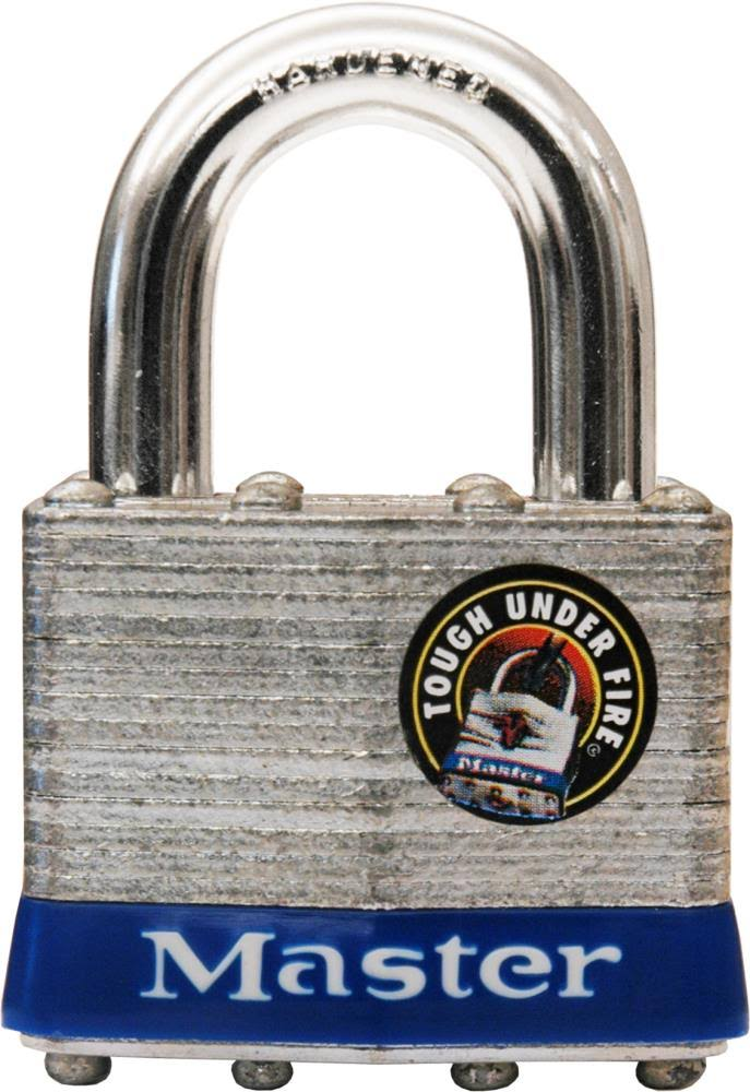 "Master Lock 1ka Padlock - 15/16"", 1 3/4"" Wide, Laminated Steel"