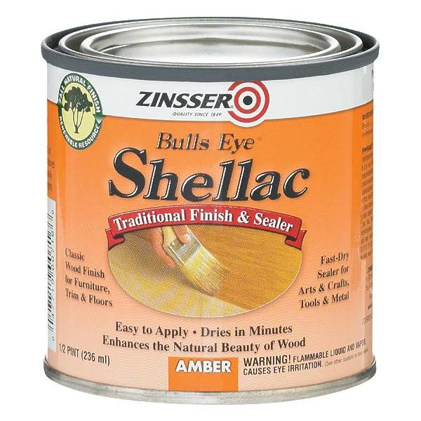 Zinsser Bulls Eye Shellac - 1/2 Pint, Amber