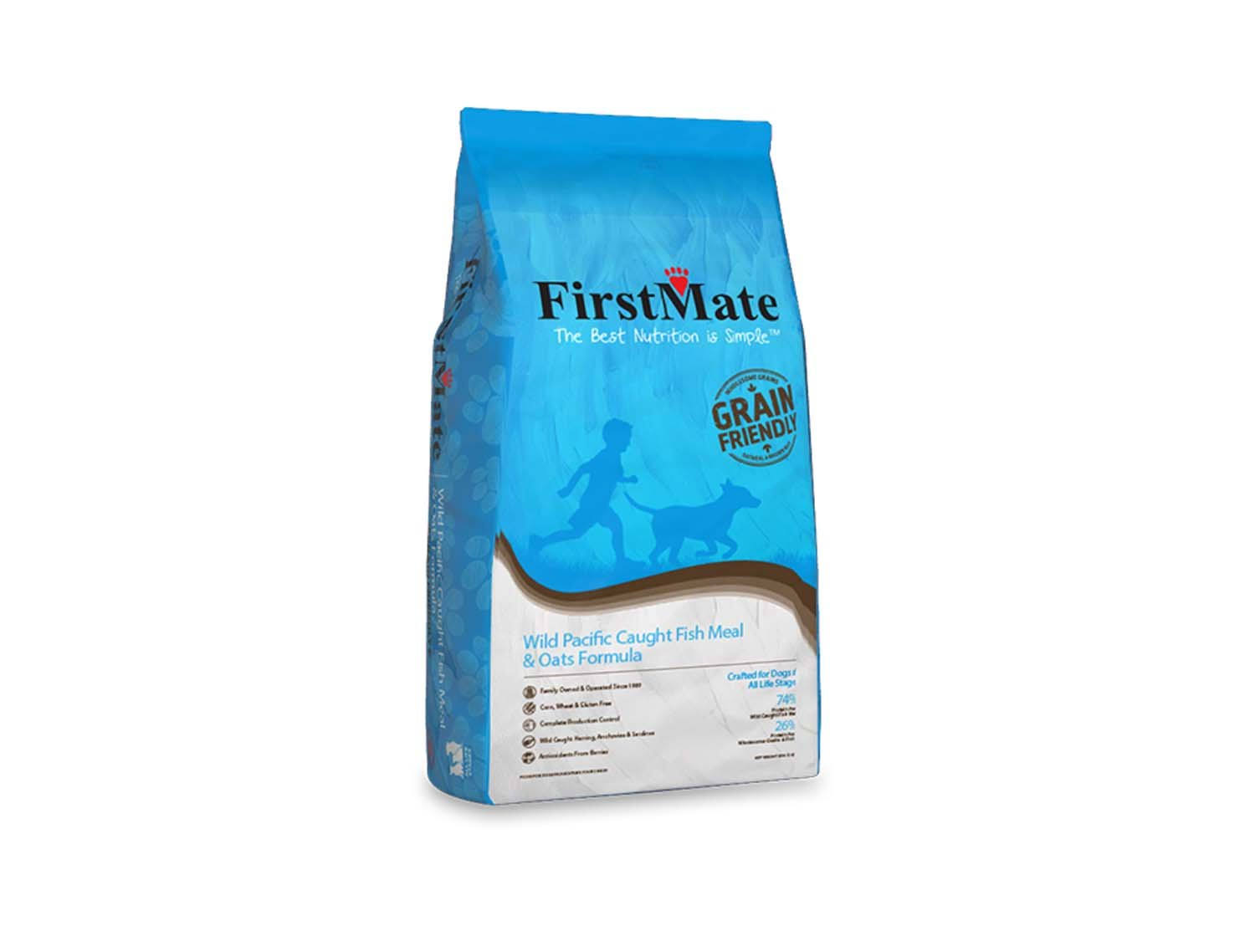Firstmate Pet Foods Dog Food - Wild Pacific Caught Fish meal and Oats Formula, 5lbs