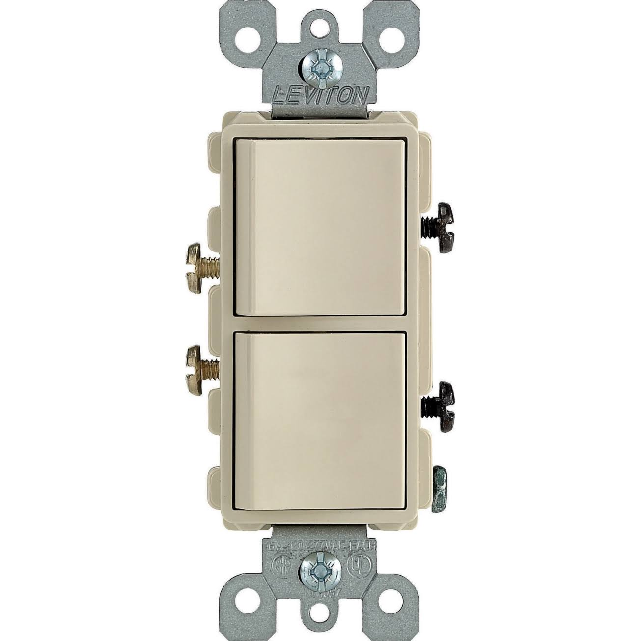 Leviton Decora Dual Rocker Switch - Ivory, 15A, Single Pole