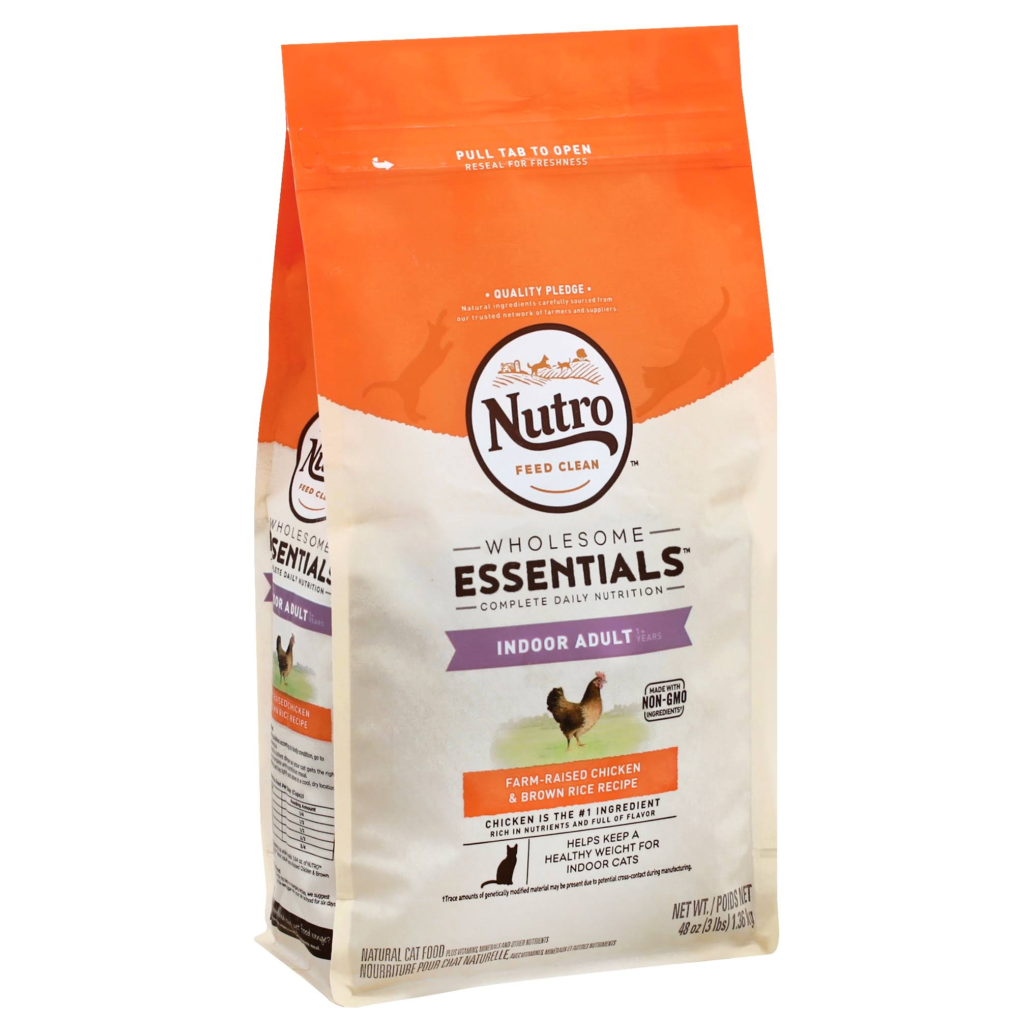 Nutro Indoor Adult Cat Chicken and Whole Brown Rice Recipe Cat Food - 3lb