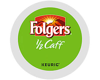 18 ct Folgers 1/2 Caff Coffee K-Cup Pods.