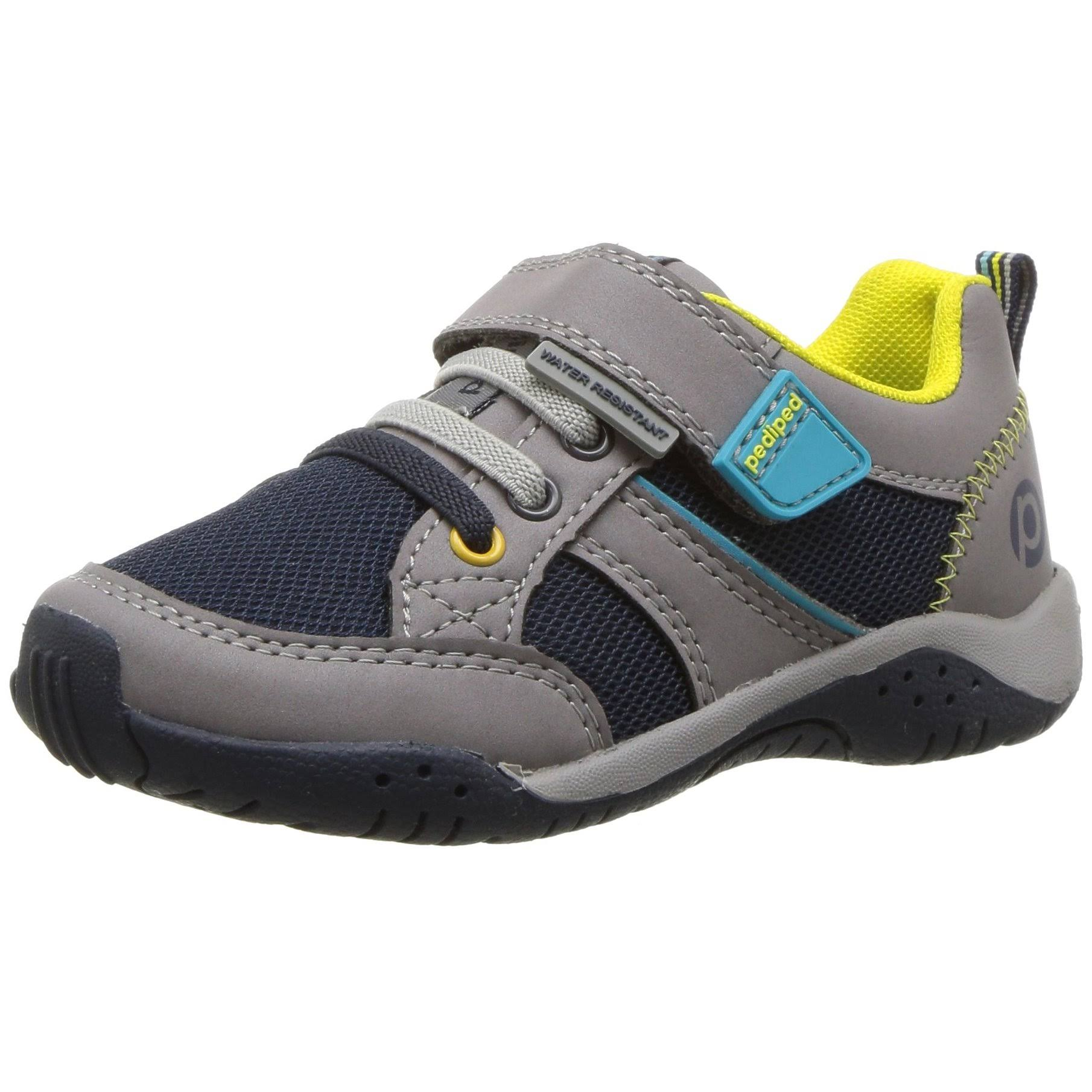pediped Baby Flex Justice Sneaker, Grey, 24 E EU Toddler (7.5-8 US)