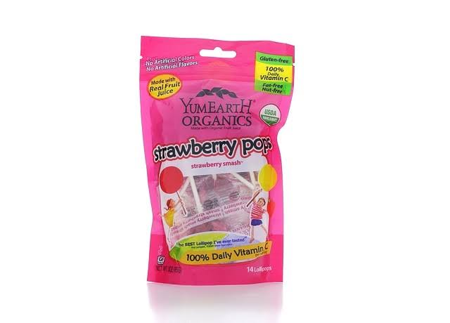 Yummy Earth Organic Strawberry Pops - 3 oz bag