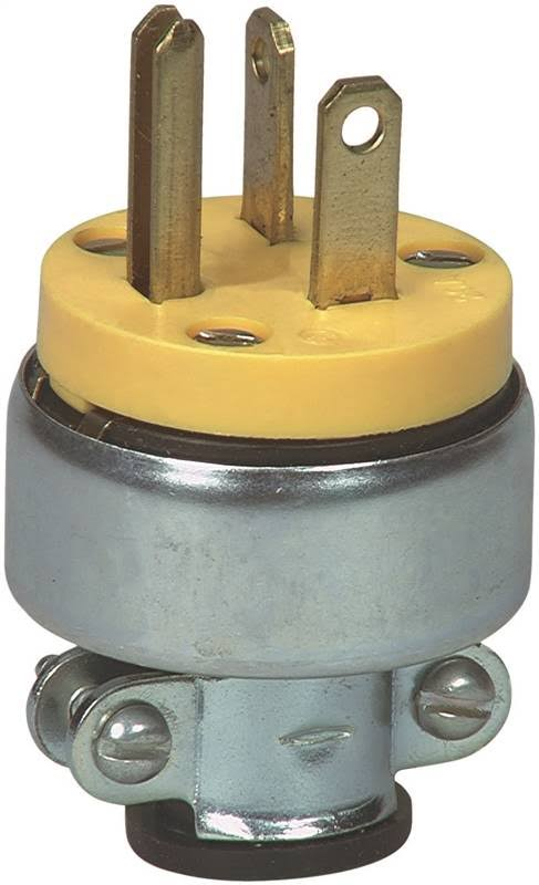 Cooper Wiring Devices Armed 3 Wire Grounding Plug - 20A, 250V, Yellow