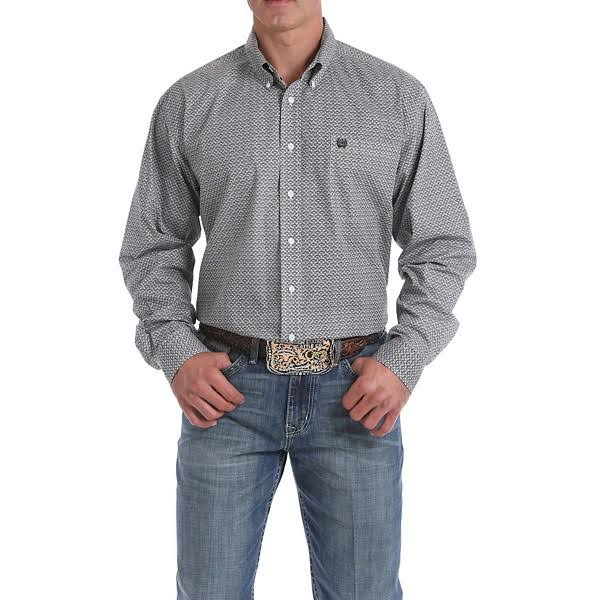 Cinch Men's Light Blue Geo Print Button Long Sleeve Western Shirt
