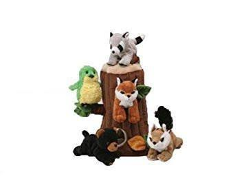 Unipak Designs Forest Animal House Stuffed Animals Plush Play Set - 5 Count