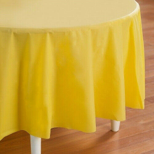 Creative Converting Mimosa Round Plastic Tablecover - Light Yellow
