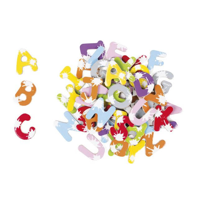 Janod Splash Magnetic Wooden Alphabet Letters - 52pcs