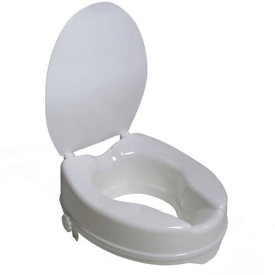 PCP 7024 Raised Toilet Seat - with Lid, White, 4""