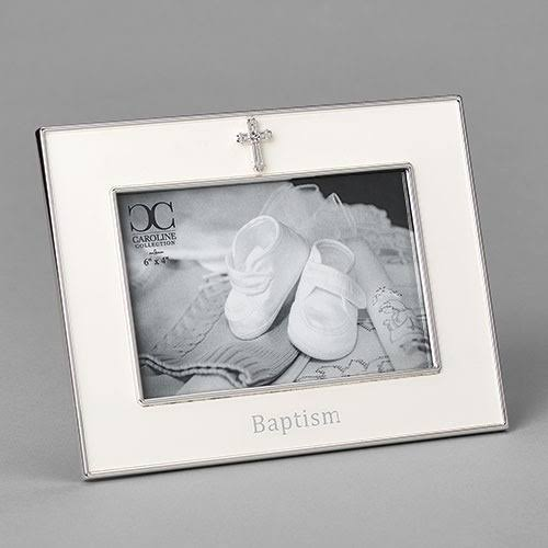 Roman 139627 Baptism-Horizontal with Cross Frame White - Holds 4 x 6 in. Photo