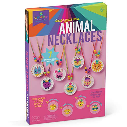 Craft-tastic - Design Your Own Animal Necklaces - Craft Kit Makes 7 Silly, Stackable, & Interchangeable Necklaces