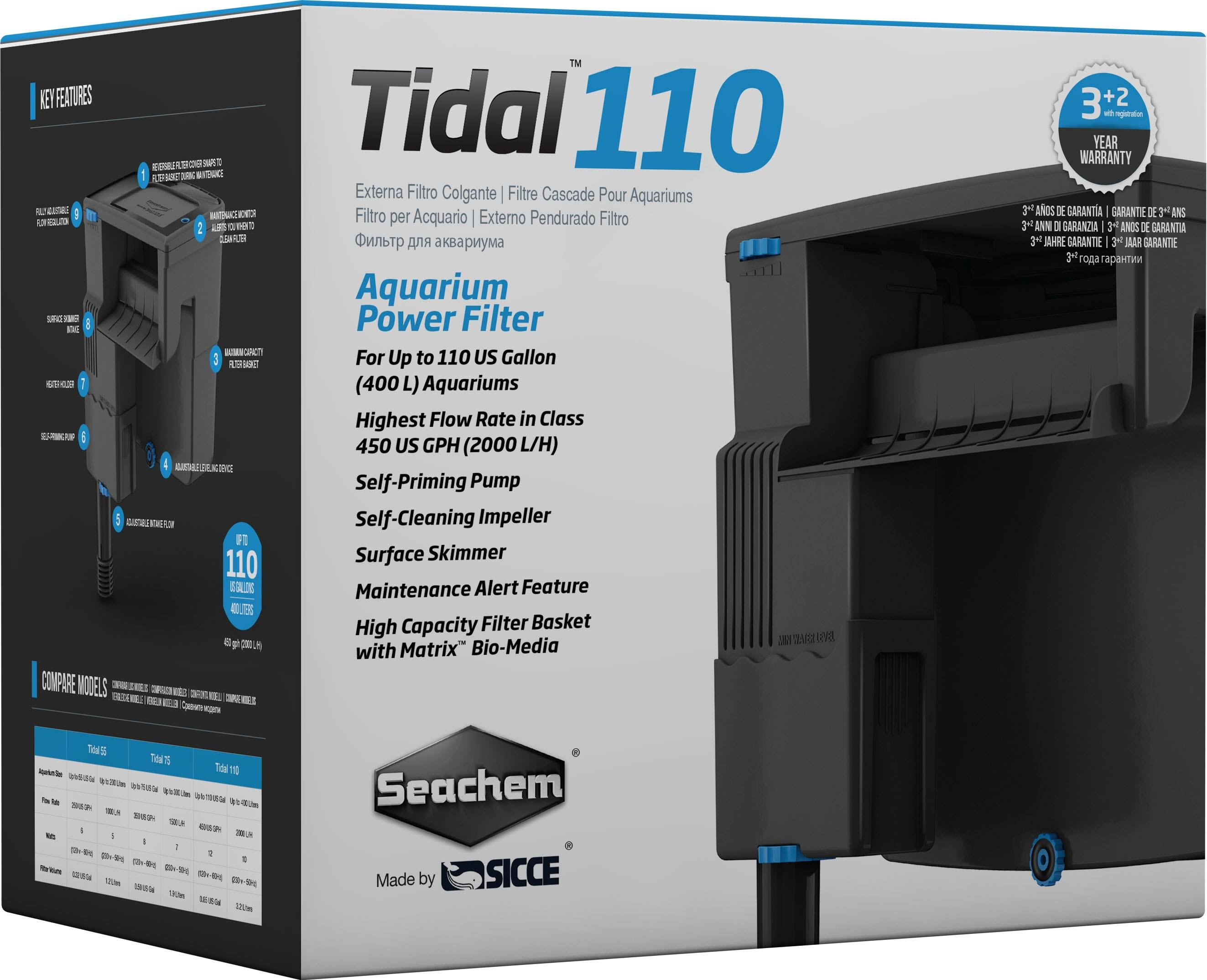 Seachem Tidal 110 Self Priming Power Filter - Black, 450gph
