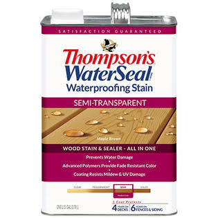 Thompsons WaterSeal Semi-Transparent Exterior Stain and Sealer - Maple Brown, 1 Gallon