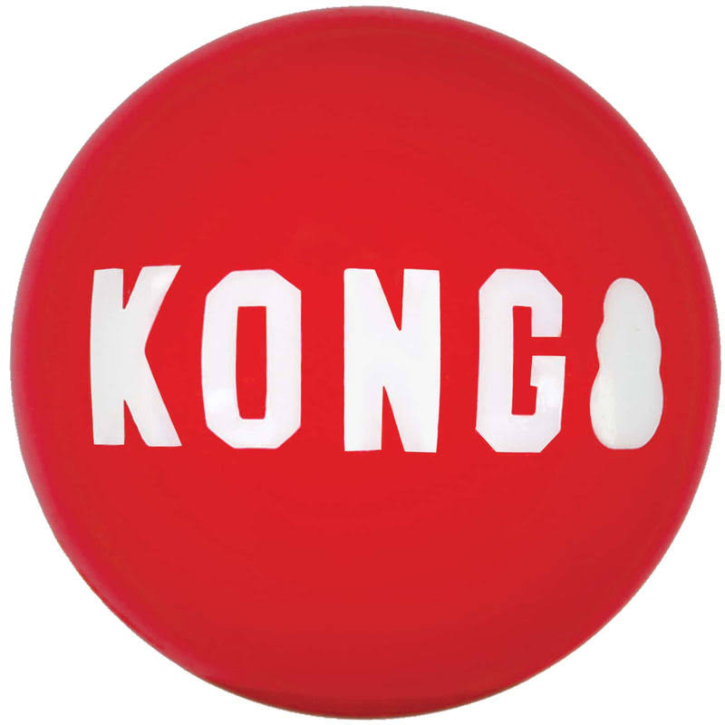 Kong Signature Balls Dog Toy, 2-Pack, Red, Small
