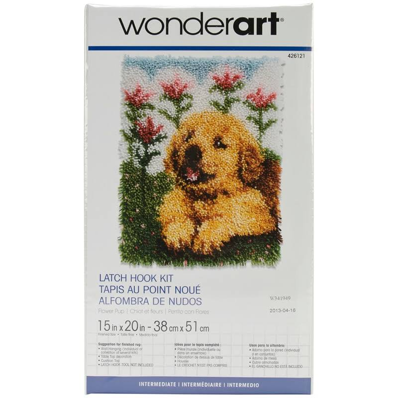 "Wonderart Flower Pup Latch Hook Kit, 15"" x 20"""