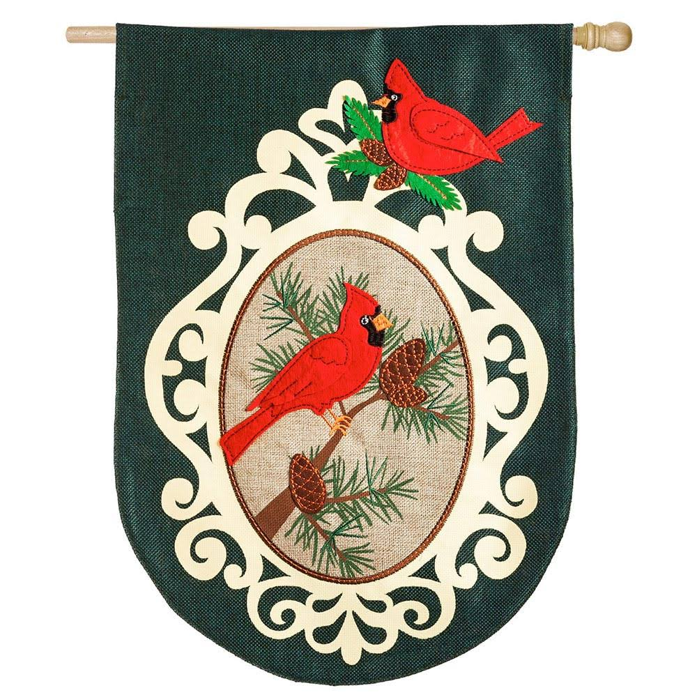 Evergreen Holiday Birds Burlap House Flag