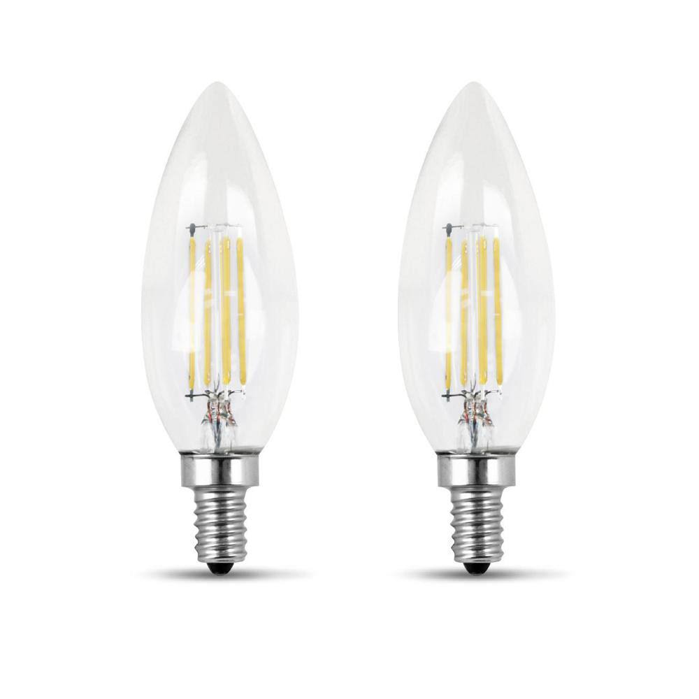 Feit Electric B10 LED Bulbs Set - 2pcs Set, 500 Lumens, Soft White, 60W