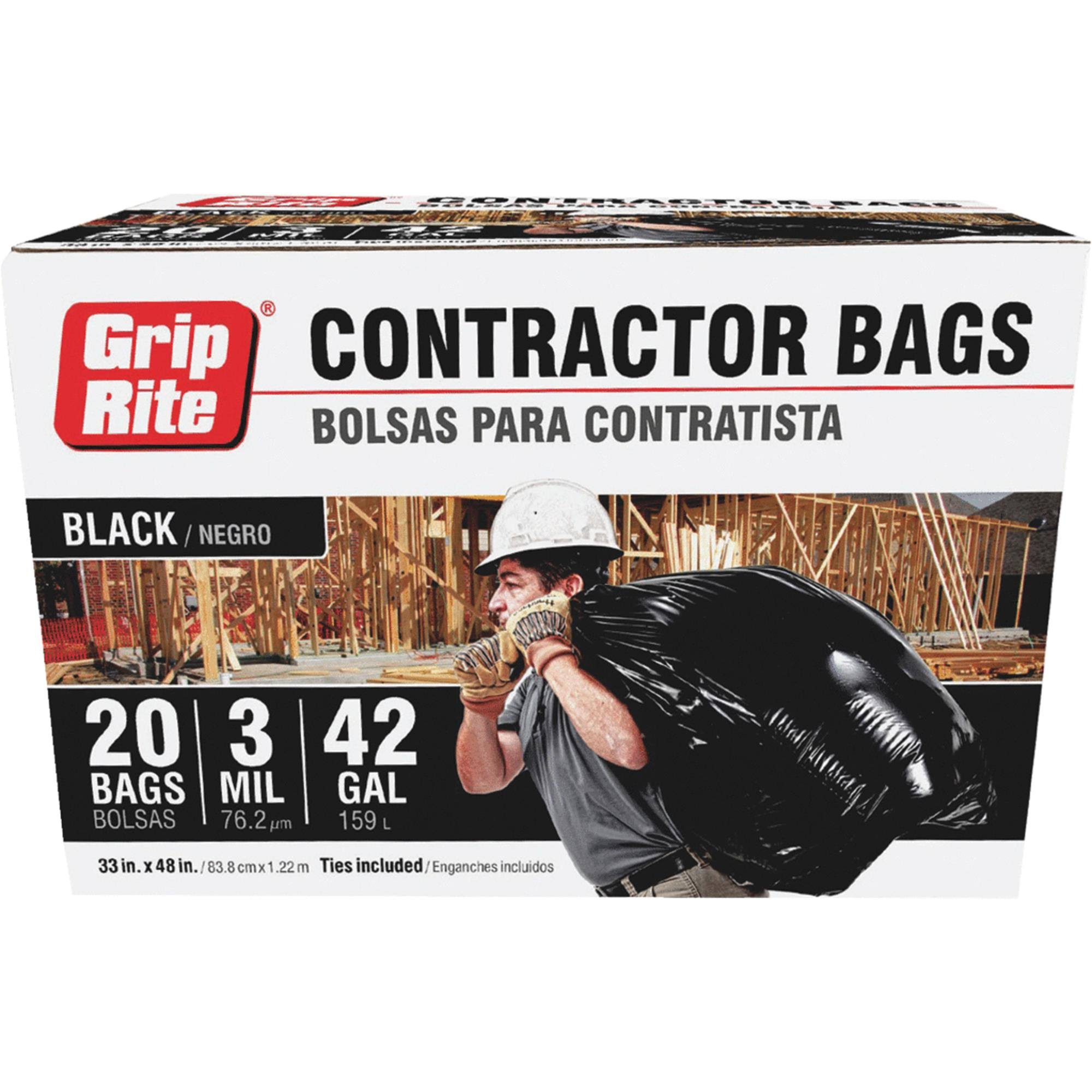 Grip-Rite Contractor Trash Bag - Black, 20ct, 42gal