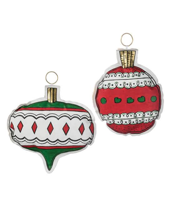 Sullivans Décor Holiday Ornament Red & Green Canvas Ornament - Set of 2 One-Size