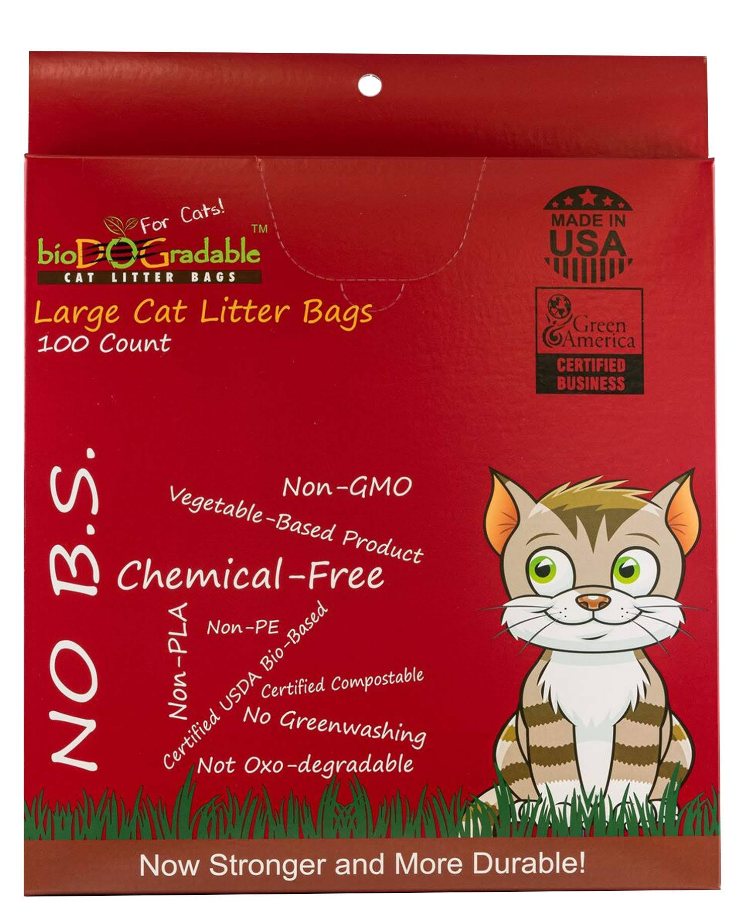 bioDOGradable Compostable Cat Litter Large Waste Bags, 100 Count