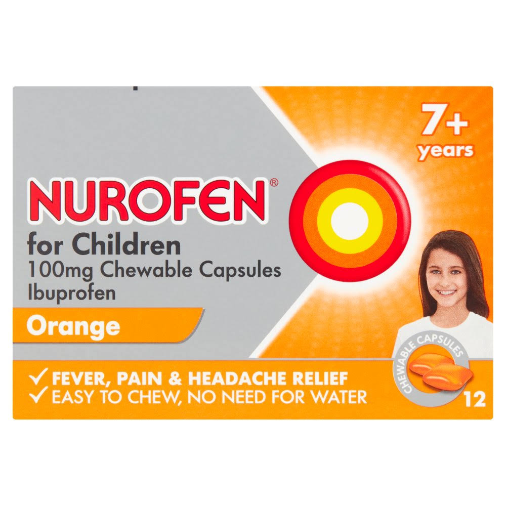 Nurofen for Children Chewable Capsules Reliever - Orange, 12pk