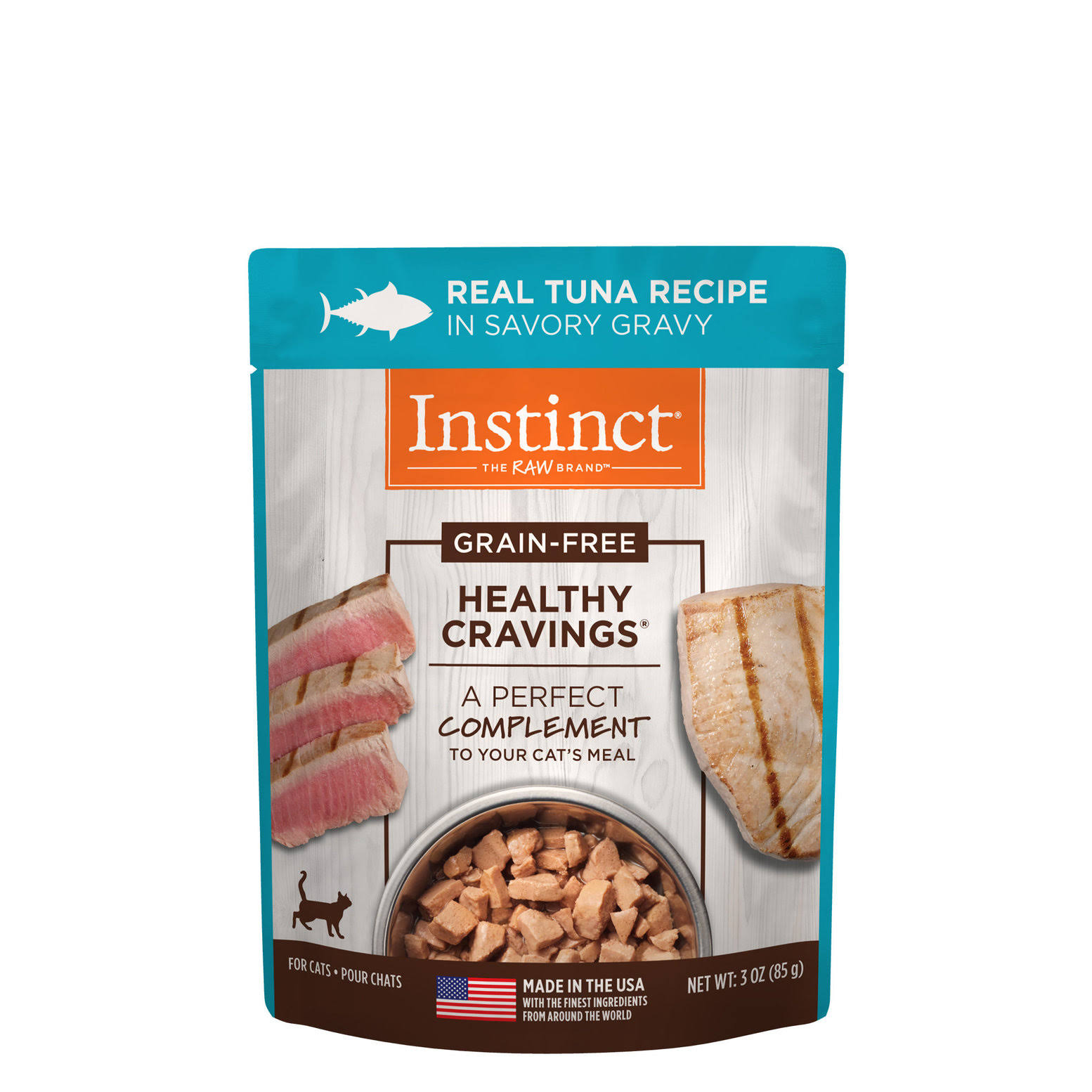 Nature's Variety Instinct Healthy Cravings Cat Food Topper, Natural, Grain Free, Tuna - 3 oz pouch