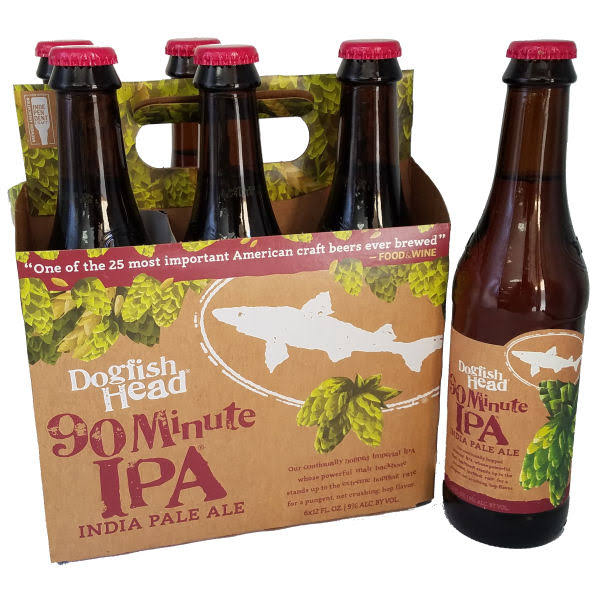 Dogfish Head Beer, Imperial IPA, 90 Minute - 6 - 12 fl oz bottles.