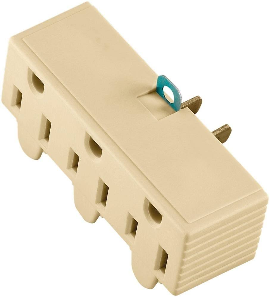 Cooper Wiring Devices Ground Adapter - Three Outlet, 2 Wire, Ivory