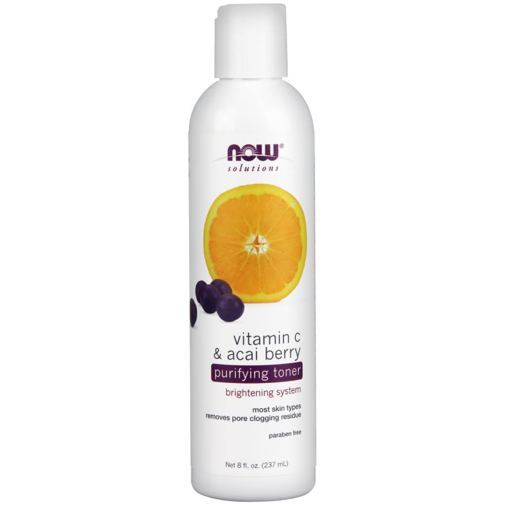 Now Foods Solutions Purifying Toner - Vitamin C and Acai Berry, 8oz
