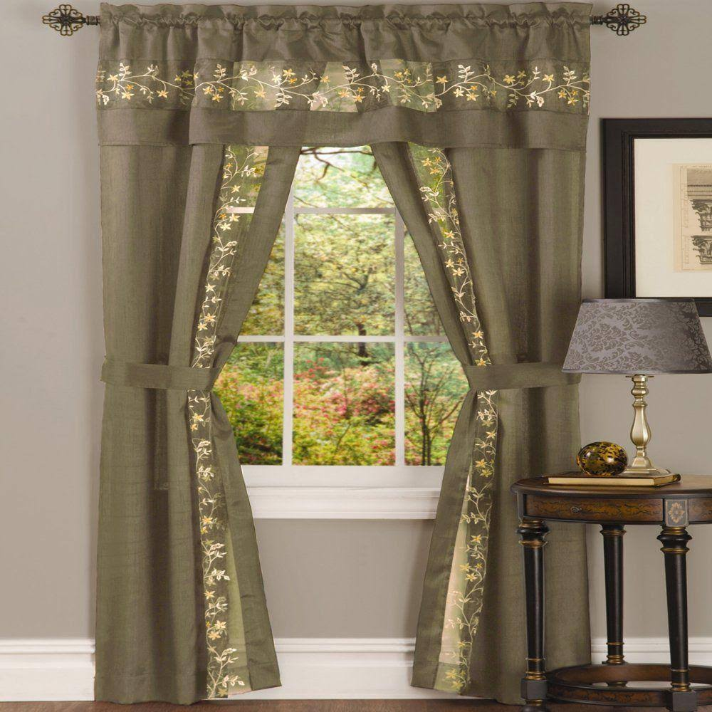 Achim Taupe Fairfield 5 Piece Window Curtain Set