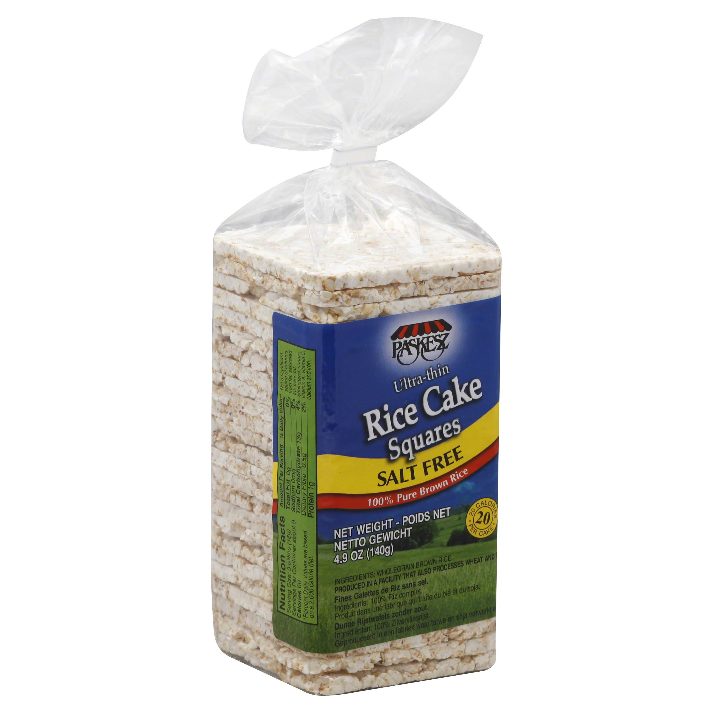 Paskesz Rice Cake Squares, Ultra-Thin, Salt Free - 4.9 oz
