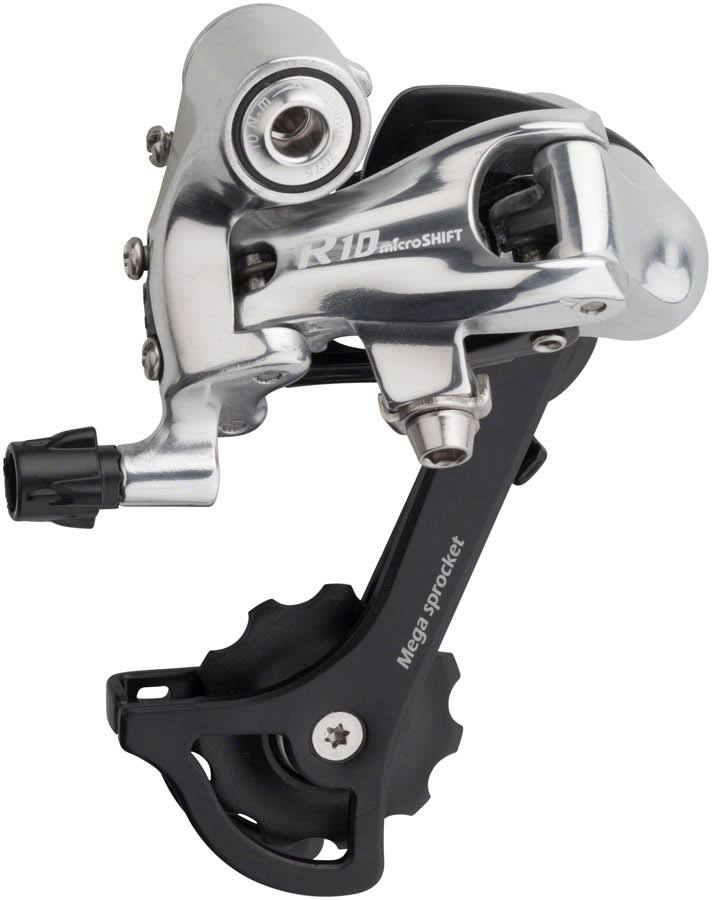 microSHIFT R10 Rear Derailleur - 10 Speed, Medium Cage, Black/Silver