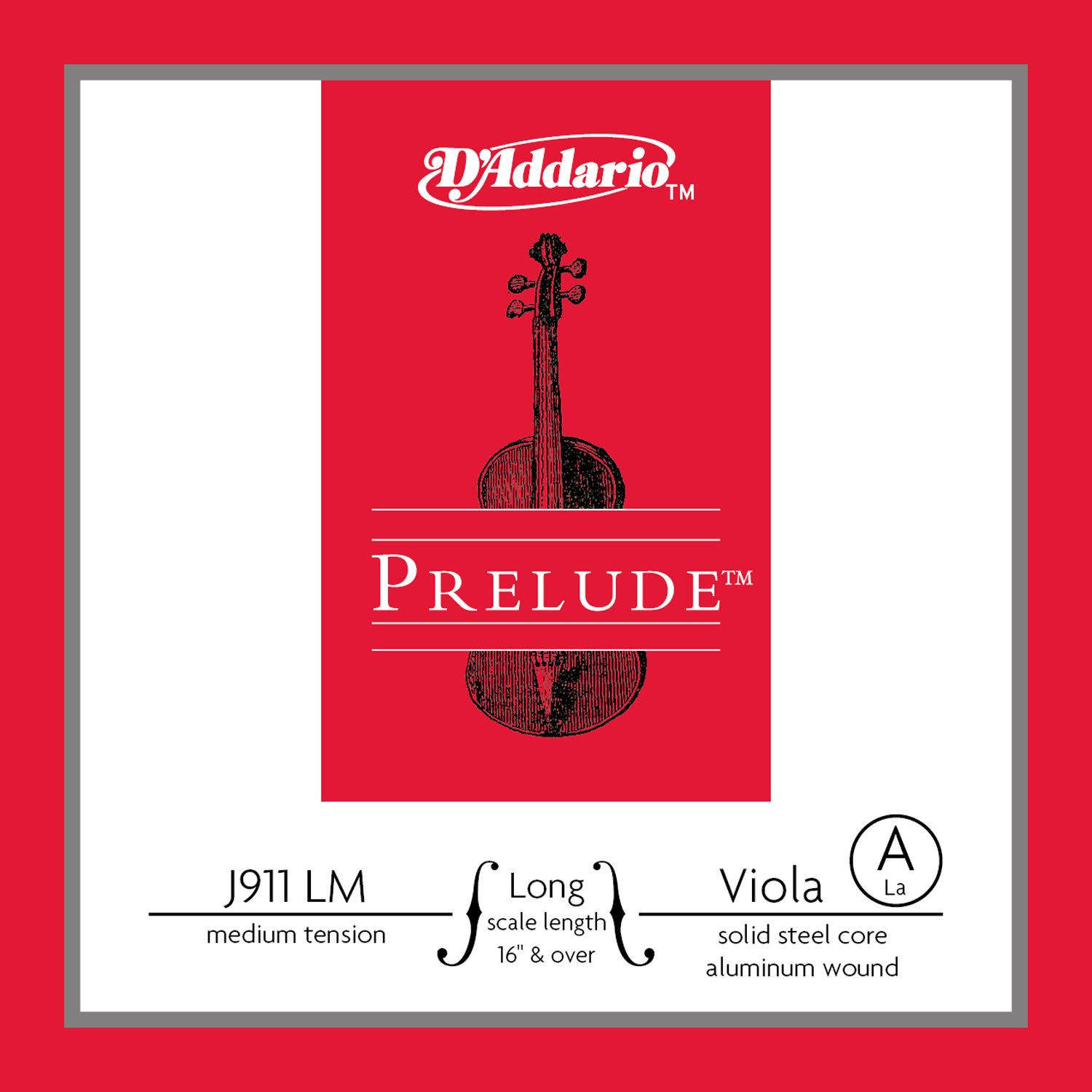 D'Addario Prelude Viola Single A String - 16 Long Scale, Medium Tension