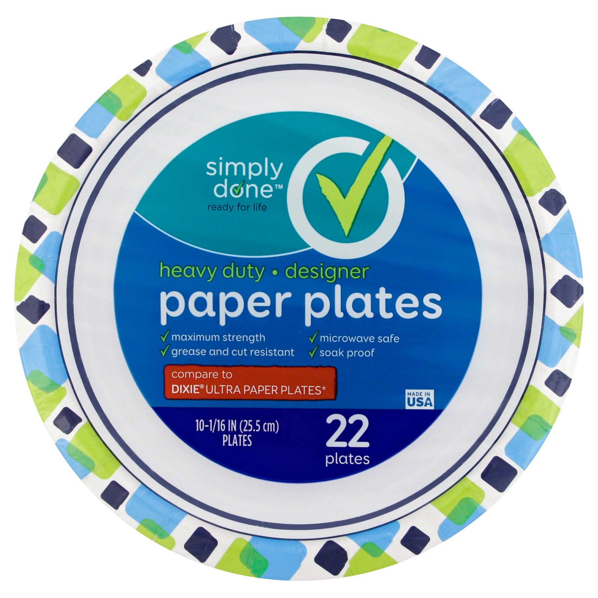 Simply Done Paper Plates, Designer, Heavy Duty, 10-1/16 Inch - 22 plates