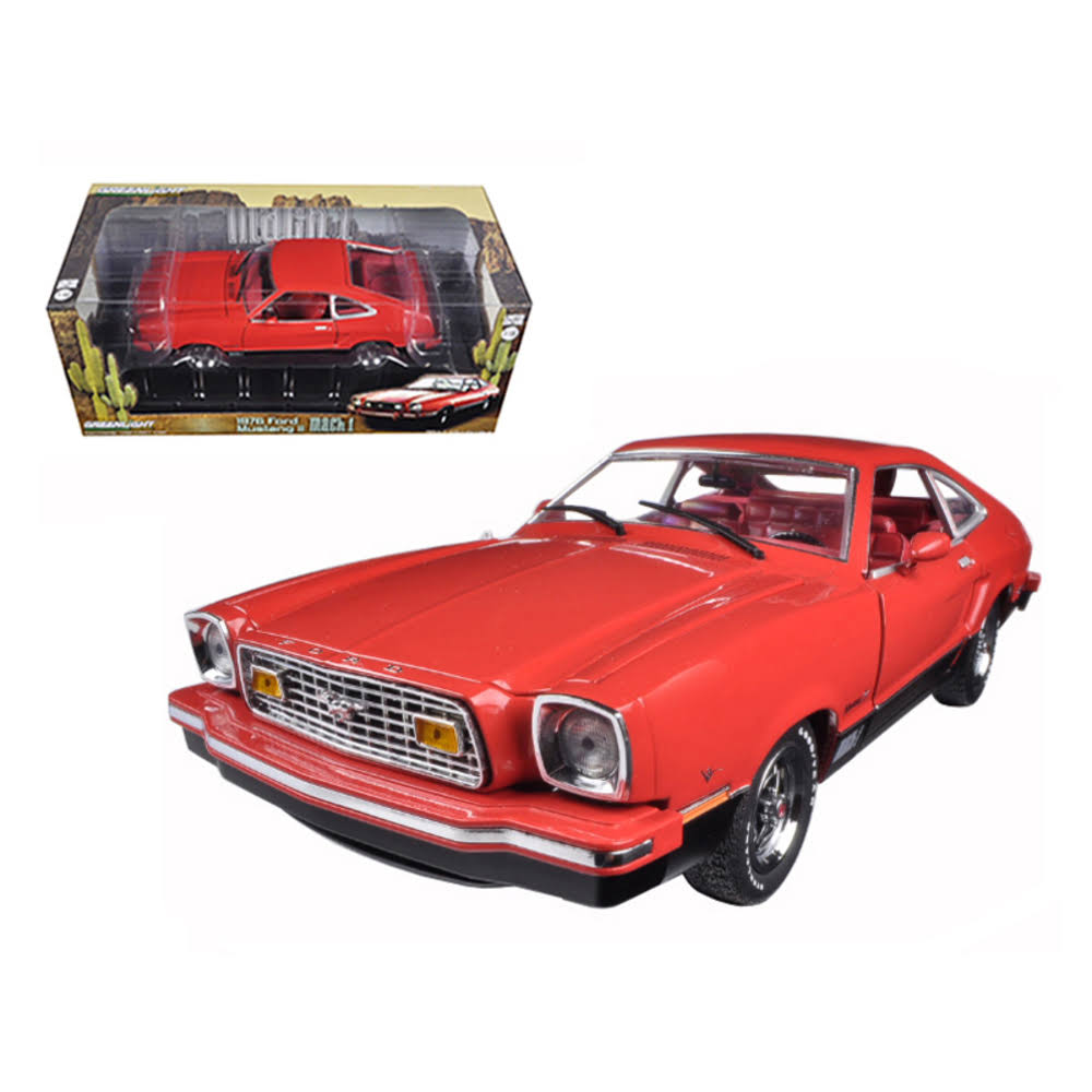 1976 Ford Mustang II Mach 1 Red with Black 1/18 Diecast Car Model by Greenlight