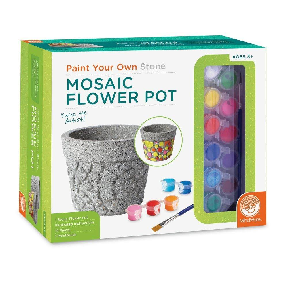 MindWare Paint Your Own Stone: Mosaic Flower Pot Craft Kit