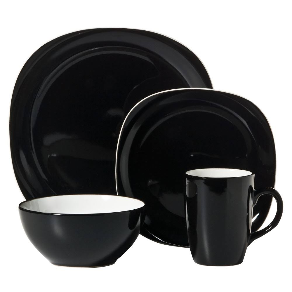 Thompson Pottery Duo Quadro Dinnerware Set - 16pcs Set, Black
