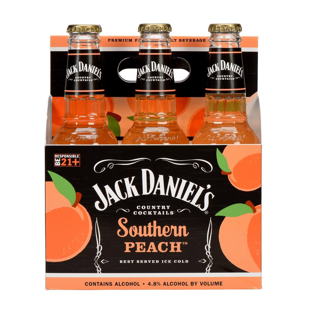 Jack Daniel's Country Cocktails Southern Peach Malt Beverage - 10oz, x6