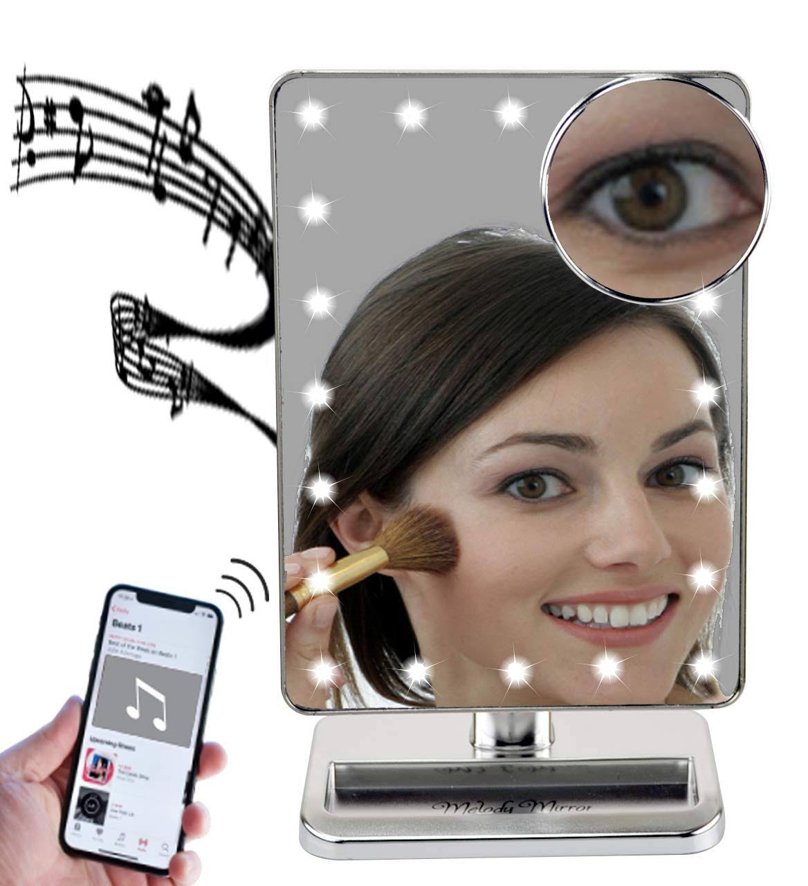 Melody Mirror - Lighted Vanity Mirror with Bluetooth Speaker (Eletro Plated Silver)