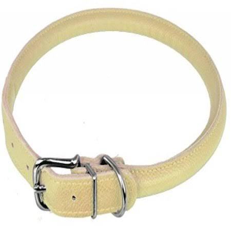 Dogline Soft Leather Round Dog Collar - Beige - Small