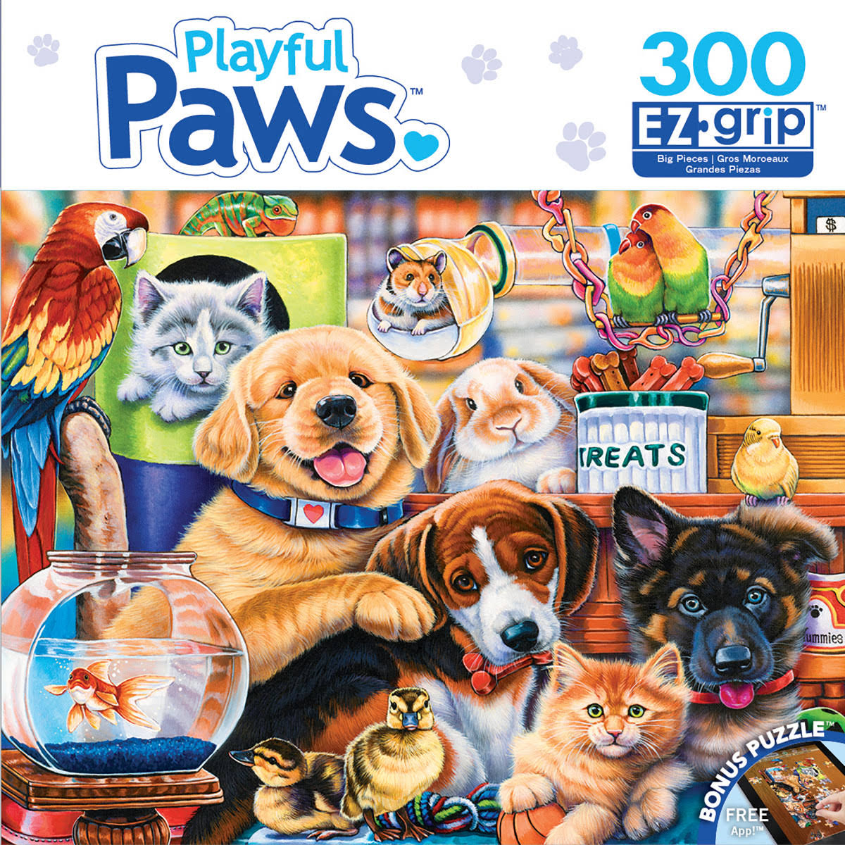 Master Piece Puzzle Home Wanted Playful Paws Ez Grip Puzzle - 300pcs