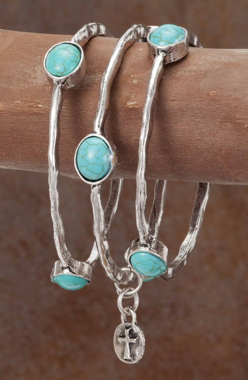 West & Co. Bracelet, Silver Bangle, Turquoise Accents