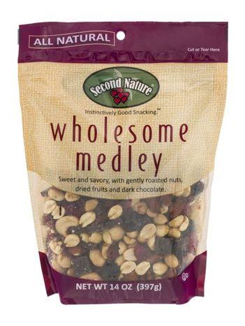 Second Nature Wholesome Medley Dark Chocolate Salted Nuts Dried Fruit - 14oz