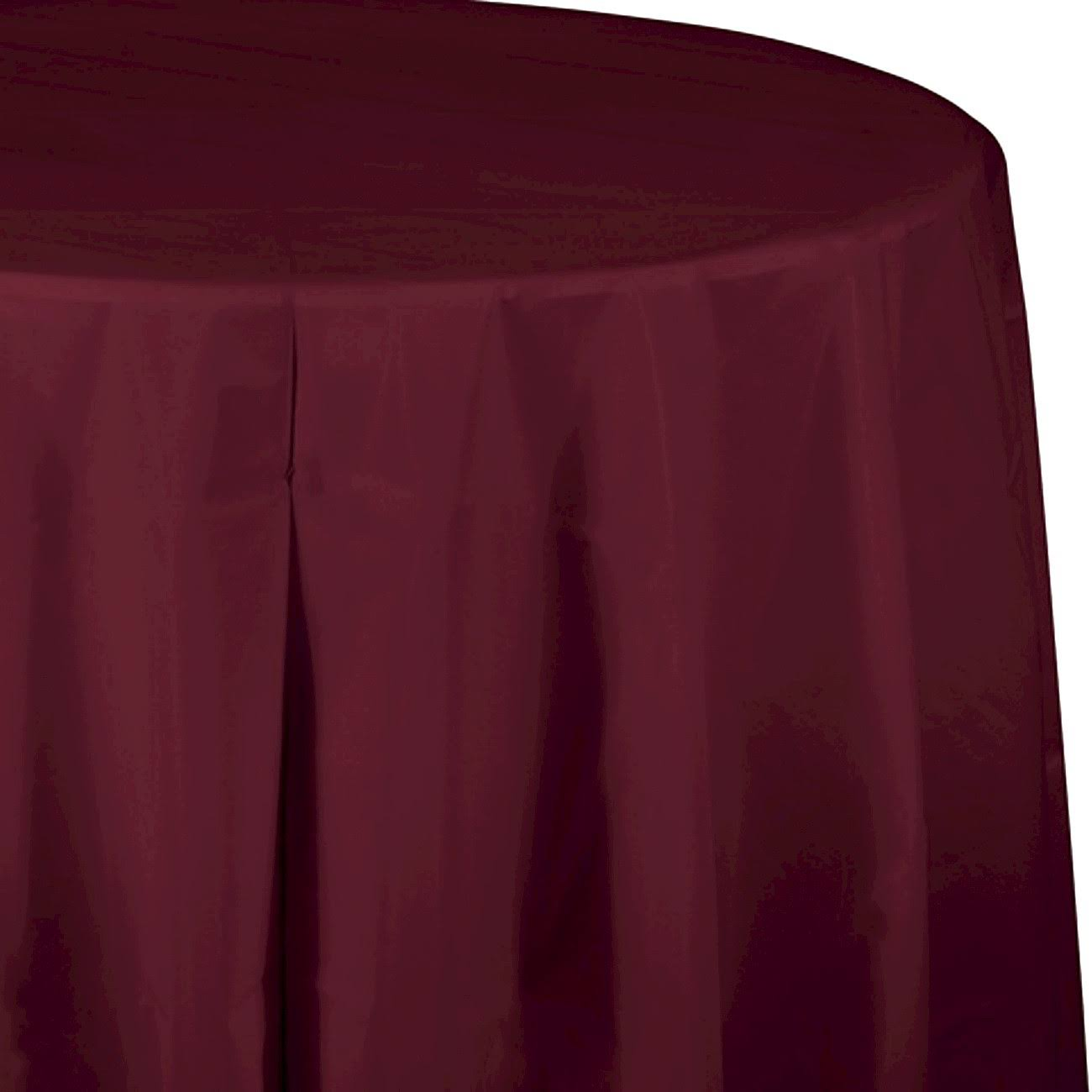 "Creative Converting Octy-Round Plastic Table Cover - 82"", Burgundy, 1ct"
