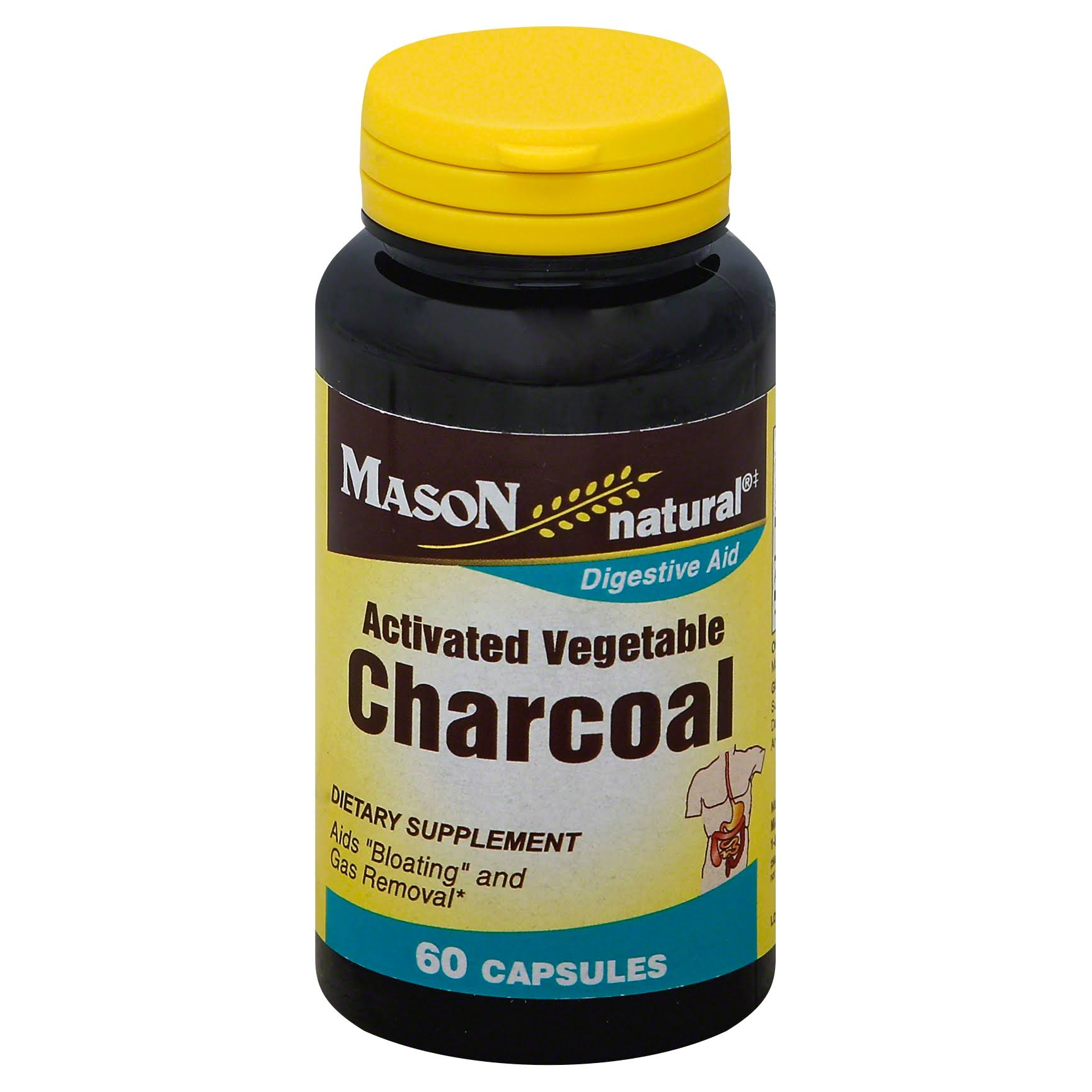 Mason Natural Activated Vegetable Charcoal Capsules - Digestive Aid, 60ct