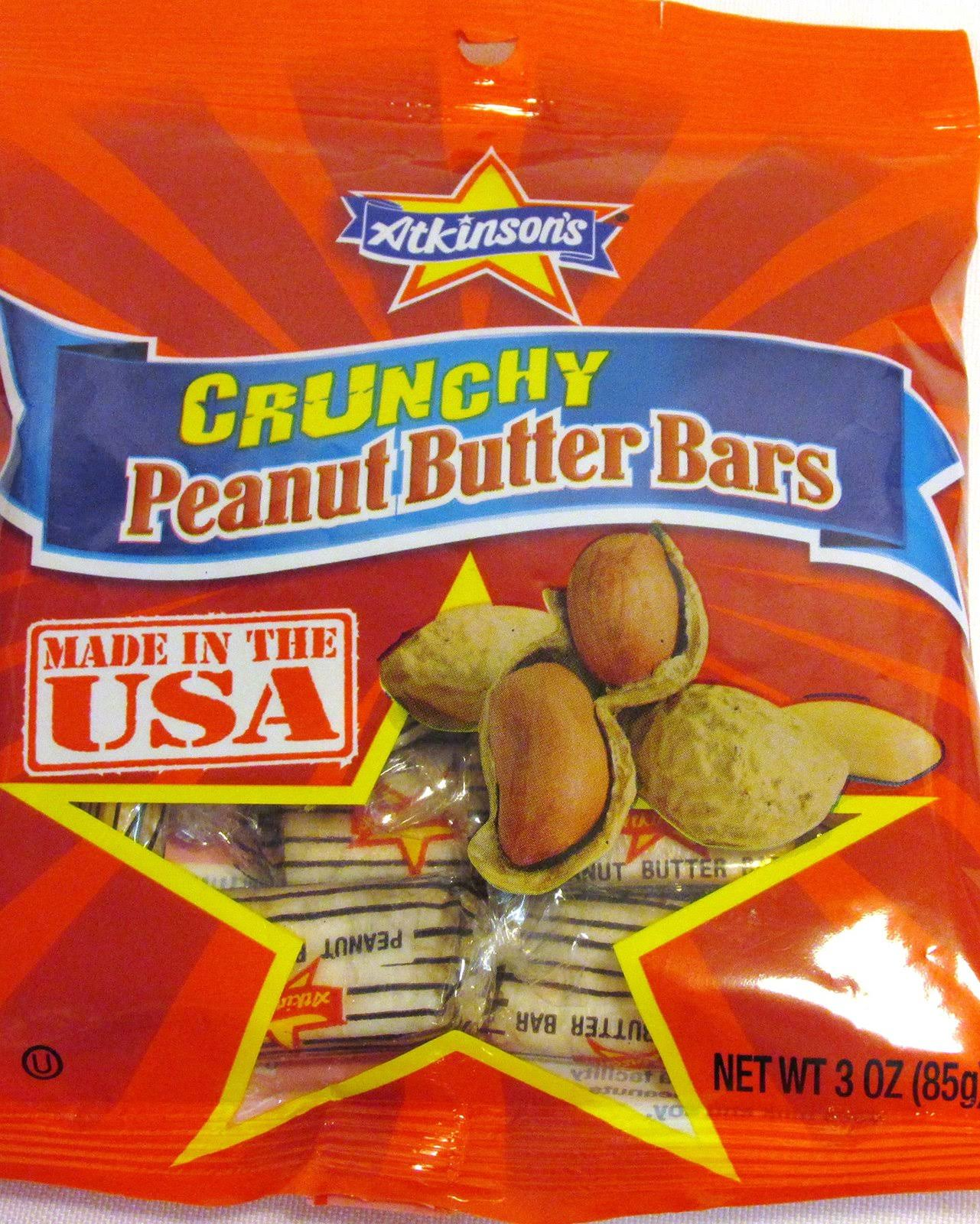 Atkinson's Crunchy Peanut Butter Bars Candy, 3 oz
