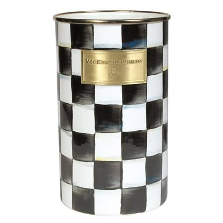 MacKenzie Childs Courtly Check Black White Enamel Steel Utensil Holder