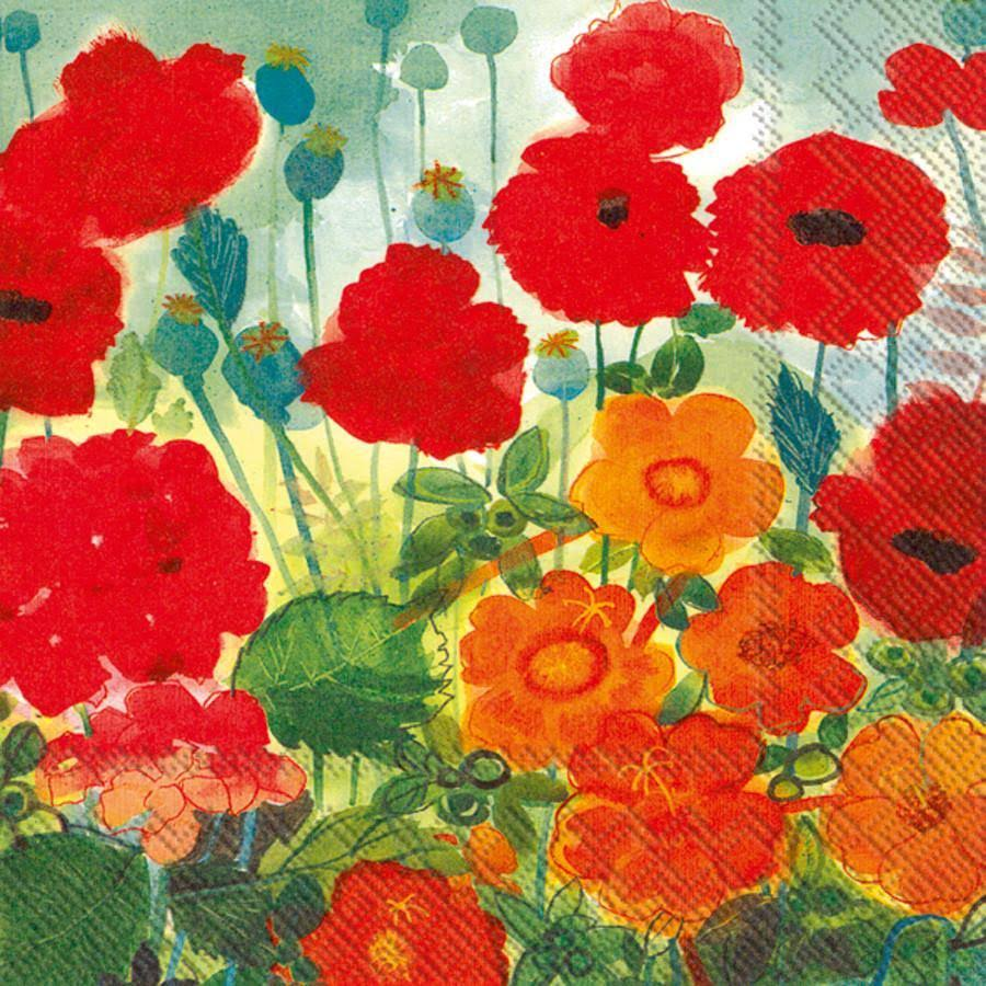 Ideal Home Range 20-Count 3-Ply Paper Lunch Napkins, Poppy and Friends